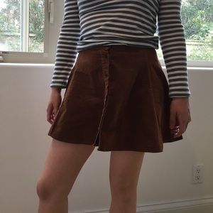 Brandy Melville Brown button-up mini skirt